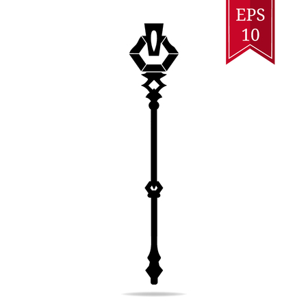 Silhouette Staff Icon isolated on white background. Magic Wand Weapon. Legendary Grade Mage Wand. Vector Illustration for Design, Game, Card, Web.