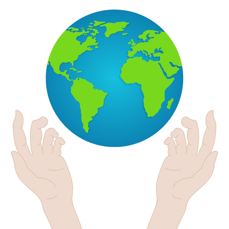 Hands with Earth. Peoples Hands Holding the Globe. Peace Day Concept. Vector illustration for Your Design
