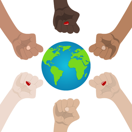 World Racial and Gender Equality. Unity, Alliance, Team, Partner Concept. Holding Hands Showing Unity. Relationship Icon. Vector illustration for Your Design, Website.