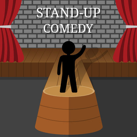 Stand-Up Comedy Vector Interior. Man or Woman Performs on Stage. Hand Up. Theater Scene with Red Curtains and Grey Brick Wall. Vector illustration for Your Design.