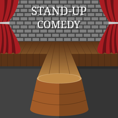 Stand-Up Comedy Vector Interior. Theater Scene with Red Curtains and Grey Brick Wall. Vector illustration for Your Design.