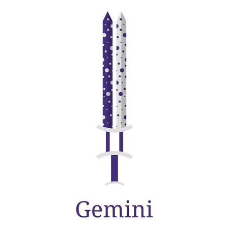Gemini Sword. Zodiac Sign. Flat Cartoon Zodiacal Weapon. One of 12 Zodiac Weapons. Vector Astrological, Horoscope Sign. Vector illustration isolated on white background.