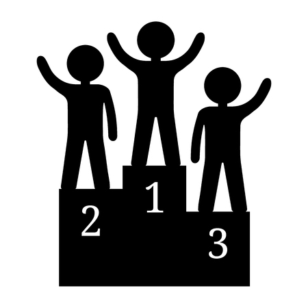Black silhouette of winners on podium. Humans on pedestal isolated on white background. First, second, third places. Clean and modern vector illustration for design, web.  イラスト・ベクター素材