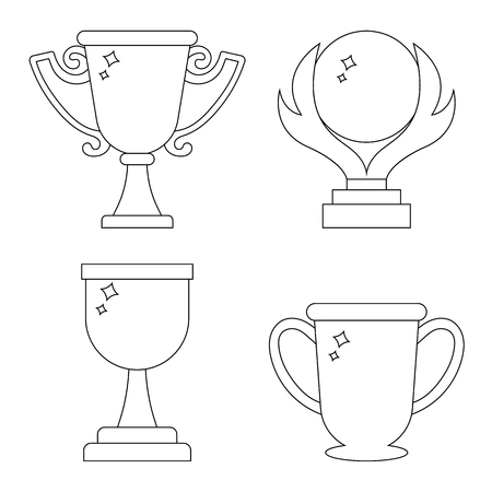 Set of winner trophy cup icons. Line style awards isolated on white background. Clean and modern vector illustration for design, web.