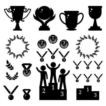 Vector collection of sport awards. Black silhouettes of trophies, medals, pedestal, laure frames, coins. First, second, third Places. Humans on podium. Vector illustration for design, web.
