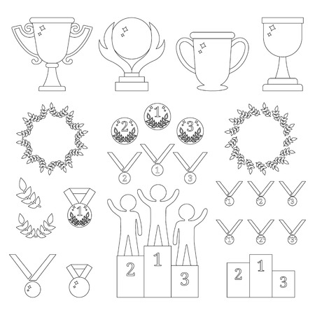 Vector Collection of Sport Awards. Outline Icons of Trophies, Medals, Pedestal, Laure Frames, Coins. First, Second, Third Places. Humans on Podium. Vector illustration for Your Design, Web.