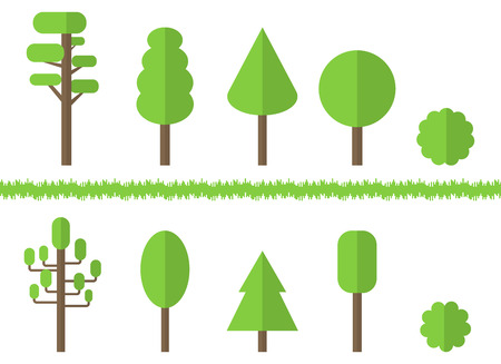 Set of Green Flat Trees isolated on white background. Vector illustration for Design.