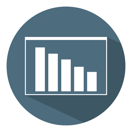 Downward Chart Icon. Business Concept. Schedule. Flat Style. Vector illustration for Design, Web, Infographic.