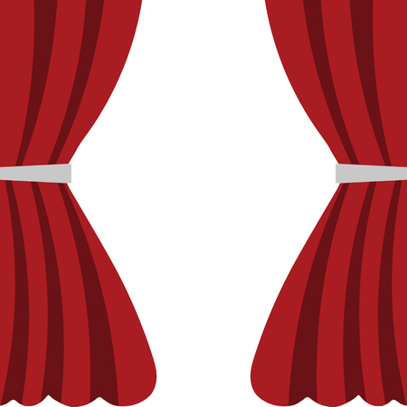 Red Silk Velvet Curtains isolated on white background. Cartoon Flat Style. Vector illustration for Your Design.