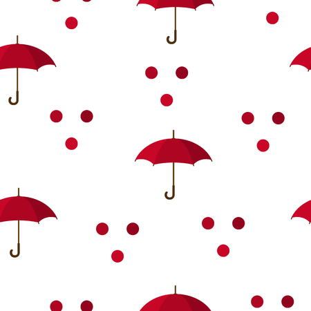 Seamless Pattern with Red Umbrellas and Circles isolated on white background. Vector illustration for Your Design