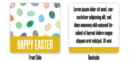 Easter Postcard. Greeting or Invitation with Different Eggs. Front Side and Backside of Postcard. Vector illustration for Your Design, Web, Print.