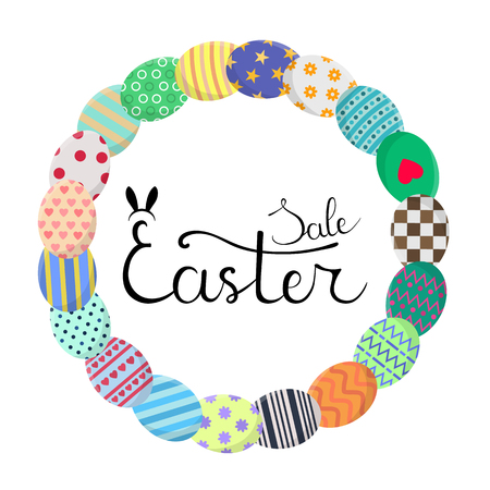 Calligraphy Lettering Easter Sale Inscription. Circle Frame with Colorful Eggs in Wreath Form. Discount, Flyer, Brochure. Vector illustration for Your Design, Web, Print. Illustration