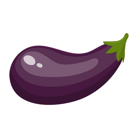 Fresh Eggplant Vegetable isolated on white background. Eggplant Icon for Market, Recipe Design. Cartoon Flat Style. Vector illustration for Your Design, Web.