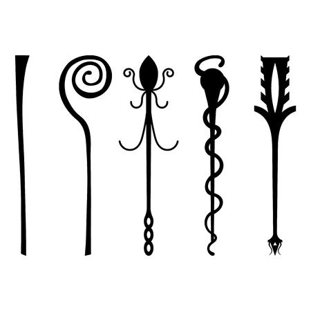 Ensemble d'icônes de personnel Silhouette noire isolé sur fond blanc. Baguette magique, sceptre, bâton, tige. Illustration vectorielle pour votre conception, jeu, carte, Web.