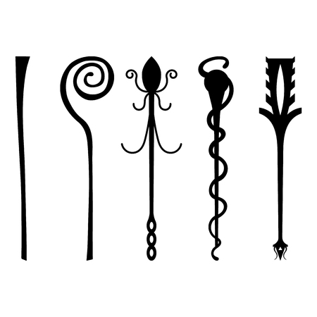 Set of Black Silhouette Staff Icons isolated on white background. Magic Wand, Scepter, Stick, Rod. Vector Illustration for Your Design, Game, Card, Web.