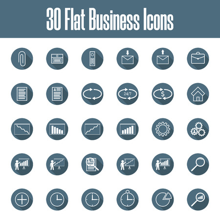 Set of 30 Vector Flat Business Icons. Business, Finance, Management, Time, Support, Service. Vector illustration for Your Design, Web, App.