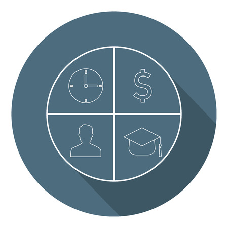 Time, Money, Man, Knowledge Icons in Circle. Business Concept. Flat Style. Vector illustration for Your Design, Web. Illustration
