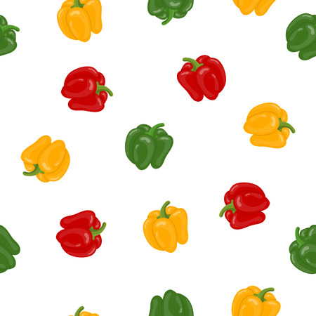 Seamless Pattern with Fresh Bell Pepper Vegetables on white background. Green, Yellow, Red Pepper. Cartoon Flat Style. Vector illustration for Your Design, Web, Wrapping Paper, Fabric, Wallpaper.