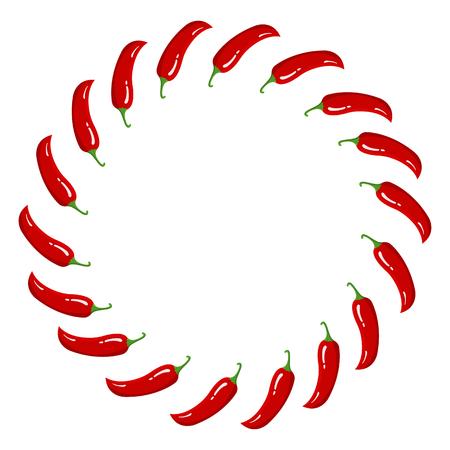 Guirnalda de ají rojo. Verduras frescas aisladas sobre fondo blanco. Marco circular de Pepper for Market, diseño de recetas. Estilo plano de dibujos animados. Ilustración de vector para su diseño, web.