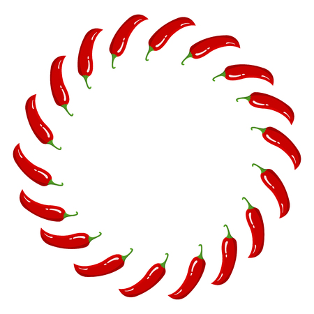 Red Chilli Pepper Wreath. Fresh Vegetables isolated on white background. Circle Frame from Pepper for Market, Recipe Design. Cartoon Flat Style. Vector illustration for Your Design, Web.