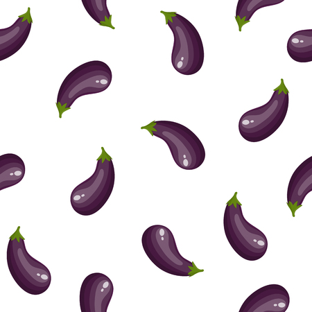 Seamless Pattern with Fresh Eggplant Vegetable isolated on white background. Cartoon Flat Style. Vector illustration for Your Design, Web, Wrapping Paper, Fabric, Wallpaper.