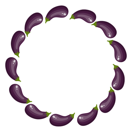 Wreath from Eggplants with Space for Text. Raw Ripe Aubergine Vegetables isolated on white background. Organic Food. Cartoon Style. Vector illustration for Your Design, Web.