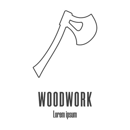 Line style icon of an axe. Carpentry . Clean and modern vector illustration.