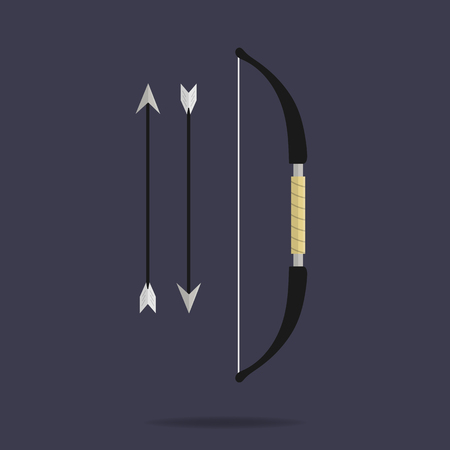 Bow and arrows icon. Archery weapon. Ninja equipment. Cartoon style. Clean and modern vector illustration for design, web. Stock Illustratie