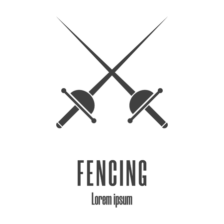 Silhouette icon of a crossed rapiers. Fencing, swordplay icon. Clean and modern vector illustration.