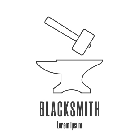 Line style icon of a hammer and anvil. Blacksmith, repair icon. Clean and modern vector illustration.