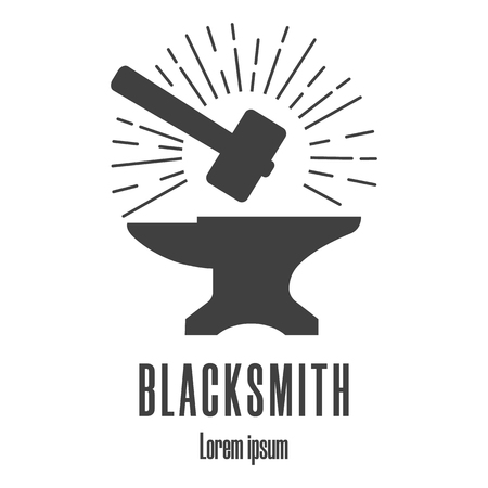 Silhouette icon of a hammer and anvil. Blacksmith, repair icon. Clean and modern vector illustration.