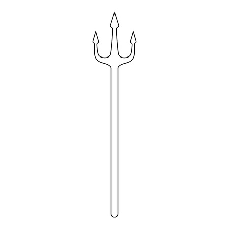 Outline trident isolated on white background. Devil, neptune trident. Line style. Clean and modern vector illustration for design, web.