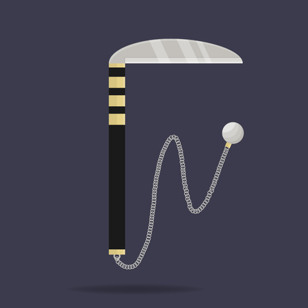 Kusarigama icon. Ninja weapon. Samurai equipment. Cartoon style. Clean and modern vector illustration for design, web. Ilustração