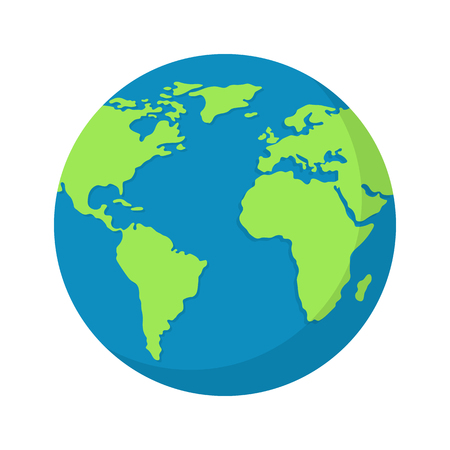 Earth globe isolated on white background. World map. Earth icon. Clean and modern vector illustration for design, web. Vetores