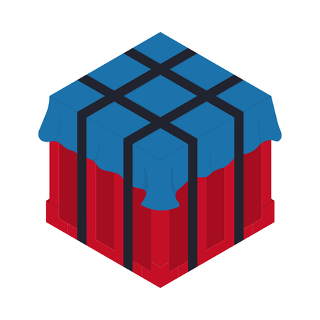 Air drop box . Isometric container. Battle royal concept. Clean and modern vector illustration for design, web.