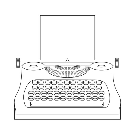 Line style icon of a typewriter machine. Journalist equipment. Vintage tehnology. Keyboard. Antique equipment. Clean and modern vector illustration for design, web. 向量圖像