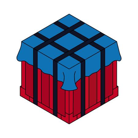 Air drop box Isometric container. Battle royal concept. Clean and modern vector illustration for design, web. Illusztráció