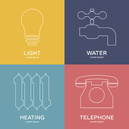 Line style icons of utilities. Symbols of light, water, heating, telephone. Clean and modern vector illustration for design, web.