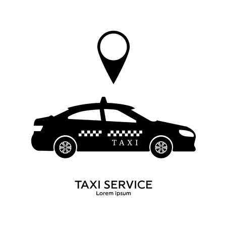 Taxi service template. Transportation concept. Black silhouette of taxi. Clean and modern vector illustration for design, web.