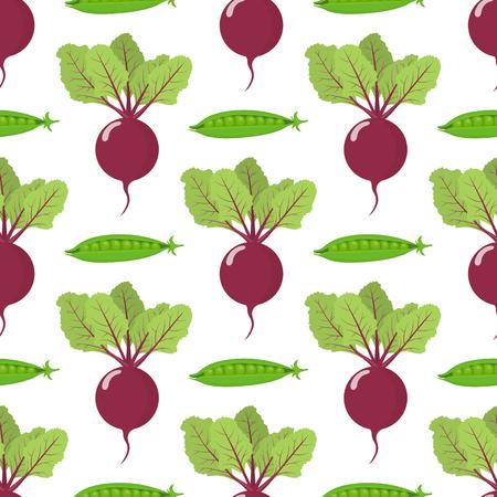 新鮮なビートとエンドウ豆の野菜とシームレスなパターン。オーガニック食品。漫画のスタイル。デザイン、ウェブ、包装紙、布、壁紙のためのベクトルイラスト。 ベクターイラストレーション