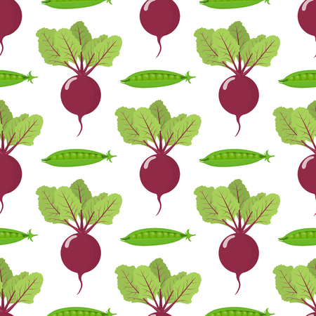 Seamless pattern with fresh beet and pea vegetables. Organic food. Cartoon style. Vector illustration for design, web, wrapping paper, fabric, wallpaper. Vetores