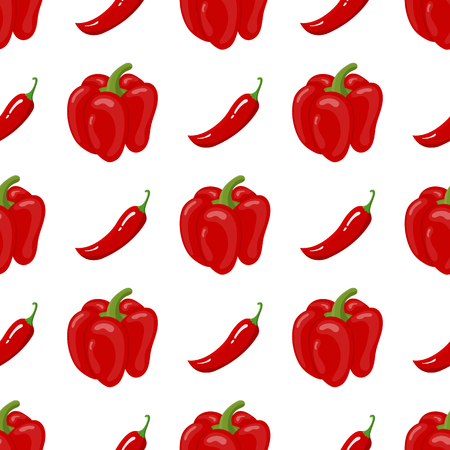 Seamless pattern with fresh bell pepper and chilli pepper vegetables. Organic food. Cartoon style. Vector illustration for design, web, wrapping paper, fabric, wallpaper. Vettoriali