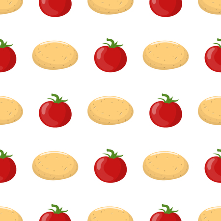 Seamless pattern with potato and red tomato vegetables. Organic food. Cartoon style. Vector illustration for design, web, wrapping paper, fabric, wallpaper. Çizim