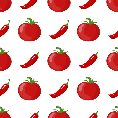 Seamless pattern with fresh tomato and chilli pepper vegetables. Organic food. Cartoon style. Vector illustration for design, web, wrapping paper, fabric, wallpaper. Ilustração Vetorial