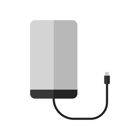 Portable external hard drive disk icon. Flat style. Vector illustration for design.