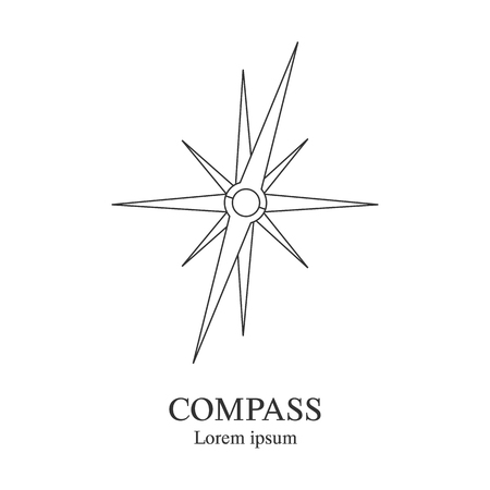 Compass icon. Travel company logo template. Abstract symbol of adventure. Clean and modern vector illustration.