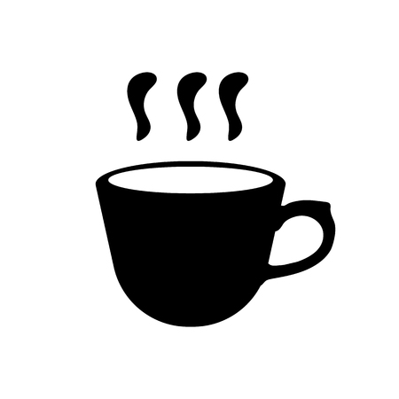 Black silhouette of coffee or tea cup. Simple icon. Vector illustration for design.