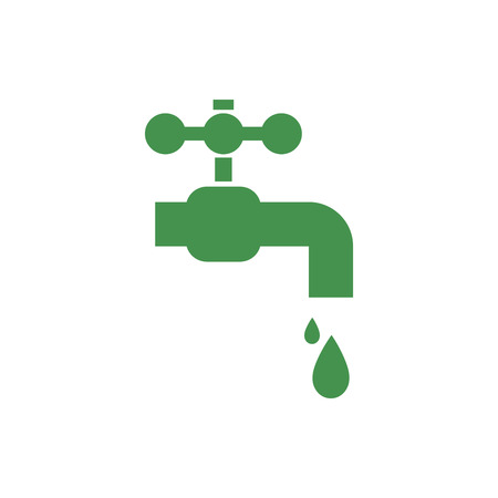 Water tap with falling drop. Green ecological sign. Protect planet. Vector illustration for design.