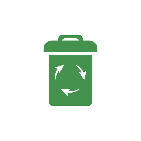 Trash icon. Green ecological sign. Protect planet. Vector illustration for design.