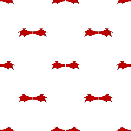 Seamless pattern with red devil wings isolated on white background. Vector illustration for design, web, wrapping paper, fabric, wallpaper. Banque d'images - 124612861